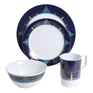 Galleywareブルーコンパスメラミン24 Piece Dinnerwareギフトセット
