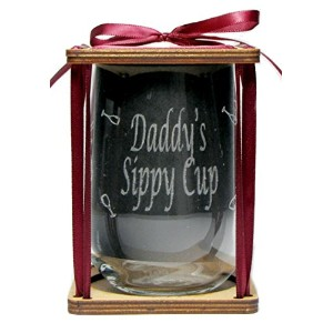 Daddy 's Sippy Cup 360度Engraved Stemlessワインガラス