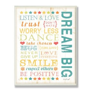 The Kids Room by Stupell Dream Big Typography Rectangle Wall Plaque by The Kids Room by Stupell