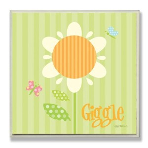 The Kids Room by Stupell Giggle Striped Sunflower Square Wall Plaque by The Kids Room by Stupell