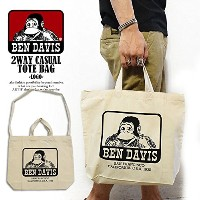 (ベンデイビス)BEN DAVIS公式 2WAY CASUAL TOTE BAG -LOGO- NATURAL FREE