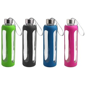 Estilo Glass Water Bottles 20 Oz, Stainless Steel Cap with Protective Silicone Sleeve - Set of 4 ...