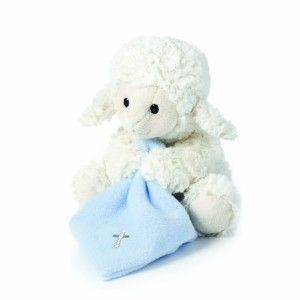Nat and Jules Jesus Loves Me Musical Plush Lamb with Blanket, Blue by Nat and Jules