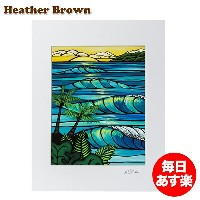 Heather Brown ヘザーブラウン Open Edition Matted Art Prints アートプリント Sunset Swell サンセットスウェル HB9121P ハワイ 絵画...