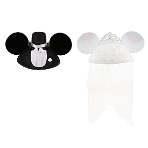 Disney ディズニー Mickey & Minnie Mouse Ear Hat - Groom & Bride ウェディング イヤーハット セット [並行輸入品]