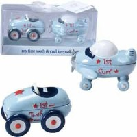 First Tooth and Curl Keepsake Set-2? x 3 INCH - BOY/Race Car/Airplane/Baby Shower/New Baby/New...