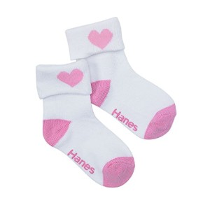 Hanes 36-6 Girls Infant ToDDler Turn Cuff Socks 6-Pack Size 12-24 Mo, White With Asst Heel And Toe...