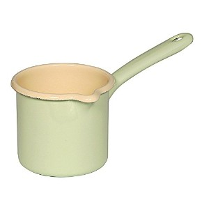 Riess Enamelware Green Spouted Milk Pot (0.75 Liter) by Riess of Austria