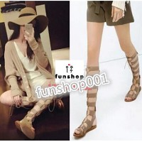 New Star 40 cm Tall sandals Rome Style Knee High Gladiator Sandals Zipper Cut-outs Vintage sandals...