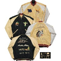 "TAILOR TOYO/テーラートーヨー ACETATE SUKA/ SOUVENIR JACKET リバーシブル・サテン スカジャンBLACK/C.GOLD""DOG SLED""×GOLD..."