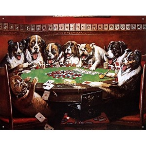 Eight Dogs Playing Cards Tin Sign 16 x 13in by Dogs Playing Poker