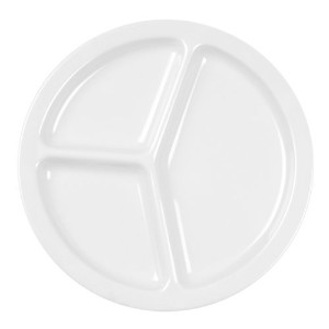 Excellant? Milan Melamine White Collection 10-Inch 3 Compartment Plate, White, 12-Piece [並行輸入品]