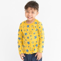 【3can4on(Kids) (サンカンシオン)】恐竜&星&車総柄プリントプルオーバーキッズ トップス|カットソー・Tシャツ イエロー