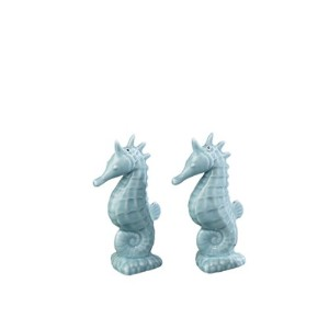 Light AquaタツノオトシゴセラミックSalt and Pepper Shaker Set