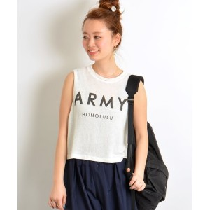 ★dポイントが貯まる★【SHIPS OUTLET(シップス アウトレット)】【SHIPS for women】THE LAUNDRY ROOM:ARMYロゴノースリーブ【dポイントでお得に購入】
