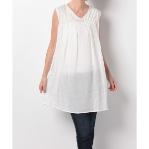 ★dポイント最大20倍★【SHIPS OUTLET(シップス アウトレット)】【SHIPS for women】TWILL RAMIE GATHER NO/S TUNIC【dポイントでお得に購入】