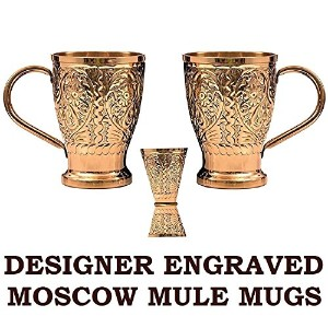 Moscow Mule銅マグカップ–by staglife- with Engraved Designer finish- 16oz–ギフトセットの2with Freeダブルジガーメジャー...