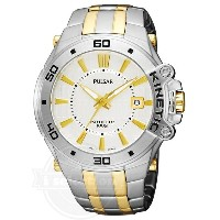 【Pulsar パルサー メンズ 腕時計 PAR147 Kinetic Two-Tone Stainless-Steel Bracelet Two-Tone Case Silver-Tone Dial Transparent Case Back Watch...