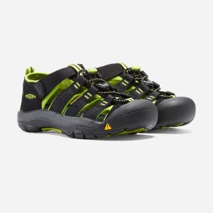 17FW キーン(KEEN) NEWPORT H2 キッズ BLACK/LIME GREEN 1009965 【RCP】 【送料無料】