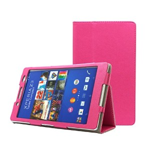 Thursday 《液晶保護フィルム付》【ピンク】Xperia Z3 Tablet Compact ( SGP611JP / SGP612JP ) 手帳型 高級 光沢 和紙 調 PU レザー ケース...