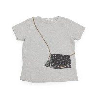 【THE SHOP TK(Kids) (ザ ショップ ティーケー(キッズ))】チェーンバッグトリックプリントTシャツキッズ トップス|カットソー・Tシャツ ライトグレー