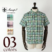 SWEEP!! BUTTON-DOWN MADRAS CHECK S/S SHIRT スウィープ!! ボタンダウン マドラスチェック シャツ (3colors)【返品交換不可】special...