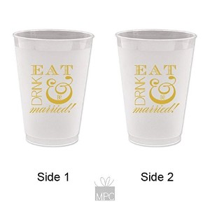 Engagement/Wedding Frost Flex Plastic Cups - Eat Drink and be Married by Mandeville Party Company