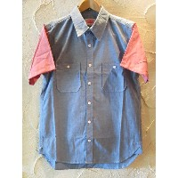 ROUND HOUSE/2 TONE DUNGAREE SHIRTS BLUExRED