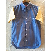 ROUND HOUSE/2 TONE DUNGAREE SHIRTS NAVYxYELLOW
