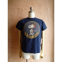 ★BUZZ RICKSON'Sバズリクソン★BUZZ RICKSON'S × PEANUTS 『SNOOPY SQD. PATCH』S/S T-SHIRT BR76689半袖Tシャツネイビー(128)