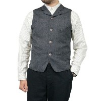 FREEWHEELERS フリーホイーラーズ ROCKEFELLER LATE 1800s TAILORED VEST GRAINED WOOL OXFORD GRAINED GRAY