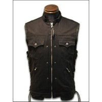 "【SKULL FLIGHT スカルフライト】ベスト/HARD PIQUE CLUB ZIP VEST ""STAND COLLAR"""