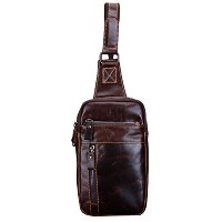 Zhhlinyuan 耐久性のある Mens Leather Chest Pack Crossbody Shoulder Sling Bag Travel Daypacks Halloween...
