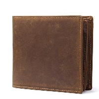 Zhhlinyuan 高品質 Mens Durable Soft Cowhide Smooth Leather Money Wallet Card Holder with ID Window