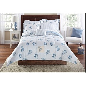 Seashells, Beach Themed, Nautical King Comforter Set (8 Piece Bed In A Bag) by Nautical
