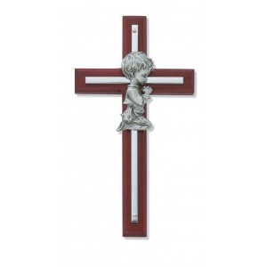 Silver Boy Wall Cross Cherry Stained Wood 6 in Nursery Decor Baby by KeegansCatholicTreasures