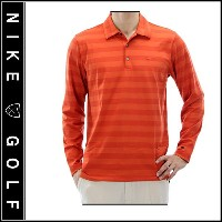 【Nike Golf】DRI-FIT ナイキゴルフTIGER WOODS COLLECTIONロングスリーブボーダーポロシャツ