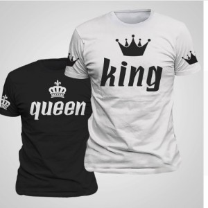 King Queen Lovers Tee T Shirt Imperial Crown Printing Couple Clothes lovers Tee Shirt Femme Summer