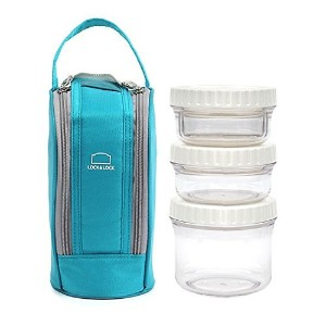 Lock and Lock Round Lunch Box Set with Insulated Bag (Blue) by LockandLock