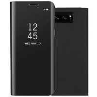 Galaxy Note8 ケース, Translucent Window View Flip Wallet Stand カバー, Shiny Plating Make Up Mirror,...