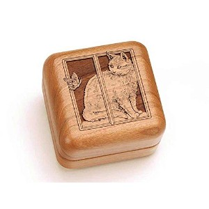 "Hingedボックス2 1 / 2 "" Square – Cat & Butterfly"