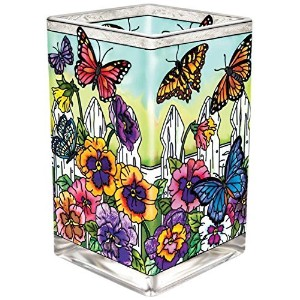 Amia 41706 Hand-Painted Glass Vase/Votive, 6-Inch High, Pansy and Butterfly Design [並行輸入品]