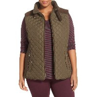 quilted vest with faux suede trim ベスト スエード スウェード レディースファッション トップス