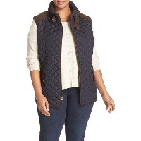quilted vest with faux suede trim ベスト スエード スウェード トップス レディースファッション