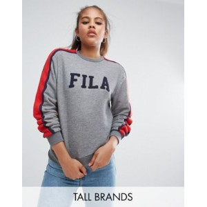 fila tall logo sweatshirt with sports stripe sleeve スリーブ ストライプ ロゴ フィラ