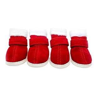 Zhhlaixing ペット用品 4 Set Dogs Anti Skid Breathable Soft Winter Cute Paw Protectors Shoes Boots Five...