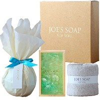 JOE'S SOAP ジョーズソープ ギフトセット バスボム(MINT) グラスソープ(EVER GREEN) タオル 石鹸 せっけん 石けん 洗顔料 洗顔 ボディソープ 入浴剤 バスフィズ ギフト...