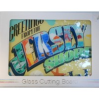 ' Greetings from the Jersey Shore 'ガラスカッティングボード–15.75in X 11.25で
