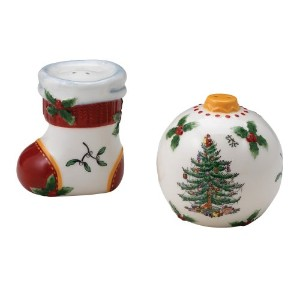 SpodeクリスマスツリーFigural Salt and Pepper Shakers 2 – 1 / 2インチH