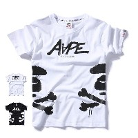 100% Cotton Fashion Men T-shirts Aape Letter Printing Summer Tops Casual Short Sleeve Black White Ro